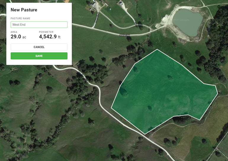 PastureMap draw pasture measure acres